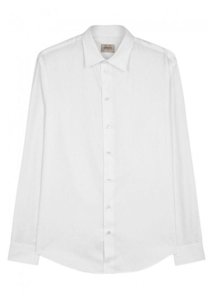 Armani Collezioni White Geometric-jacquard Cotton Shirt - Size L