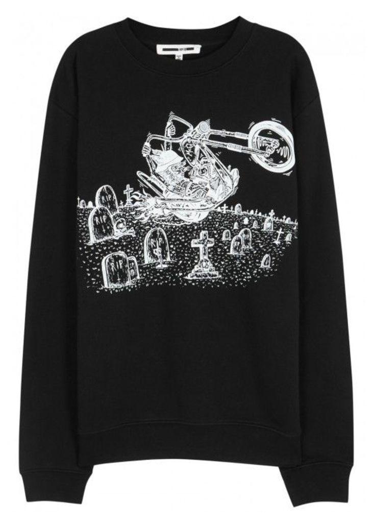 McQ Alexander McQueen Motorcycle-print Cotton Sweatshirt - Size L