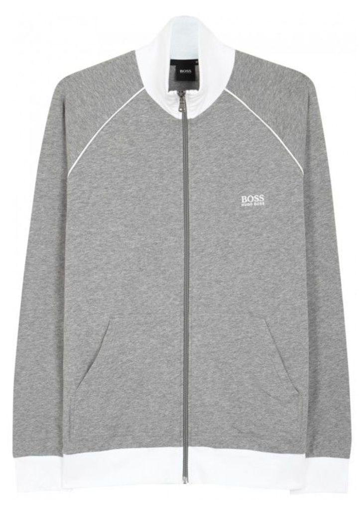 BOSS Grey Zipped Cotton Sweatshirt - Size L