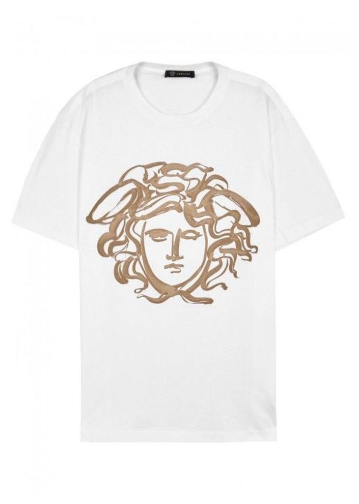 Versace White Printed Cotton T-shirt - Size XL