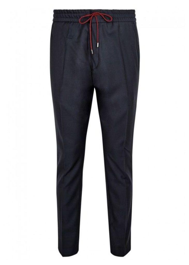 HUGO Himesh Navy Drawstring Wool Trousers - Size W32