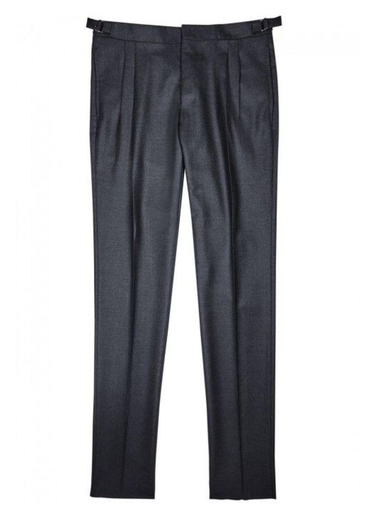 LARDINI Midnight Blue Wool Trousers - Size W34