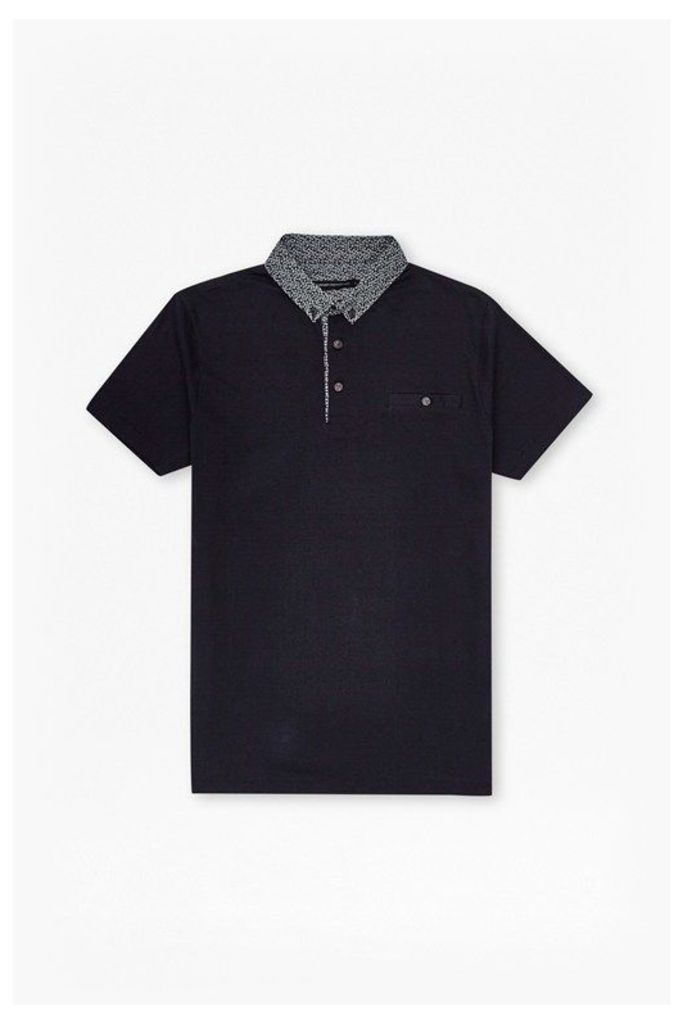 Ditzy Collar Polo Shirt - marine/white