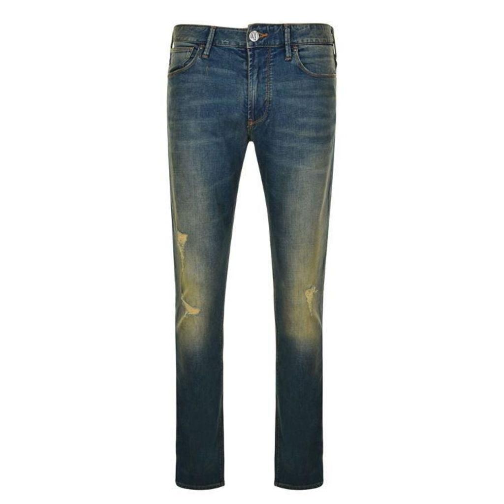 ARMANI JEANS Distressed Skinny Jeans
