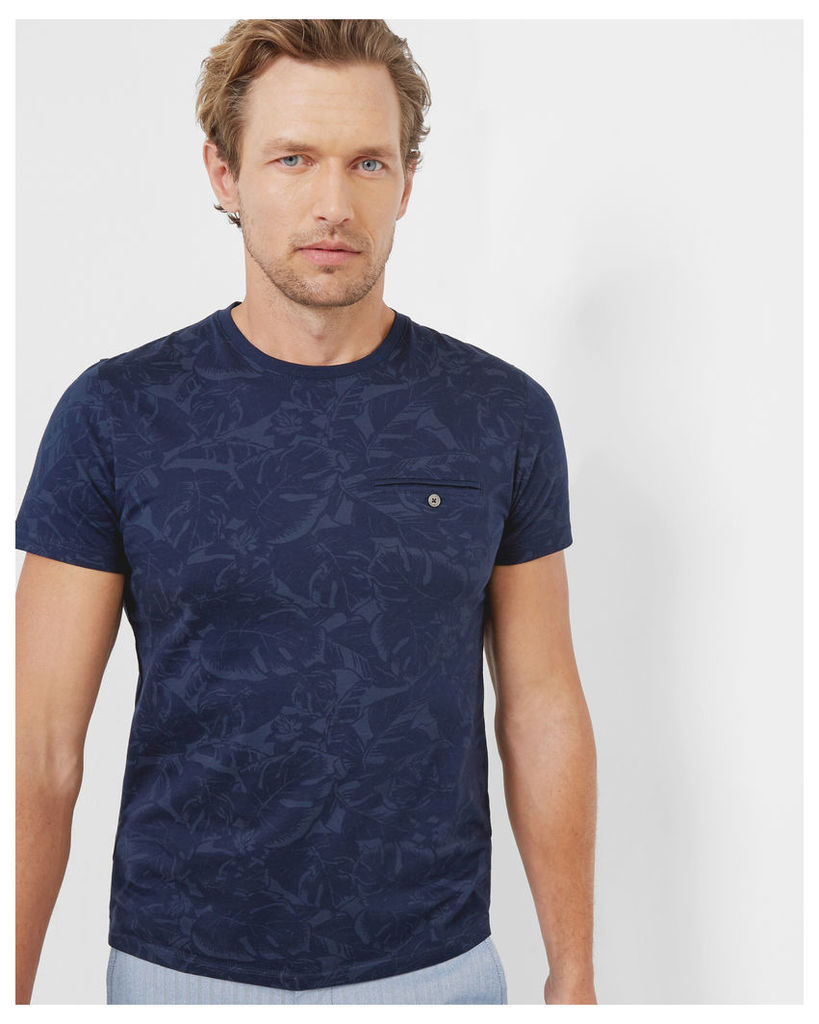 Ted Baker Floral cotton T-shirt Navy