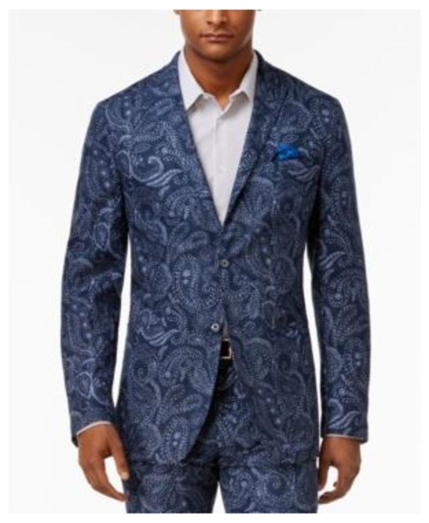 Tallia Men's Slim-Fit Indigo Blue Paisley Sport Coat