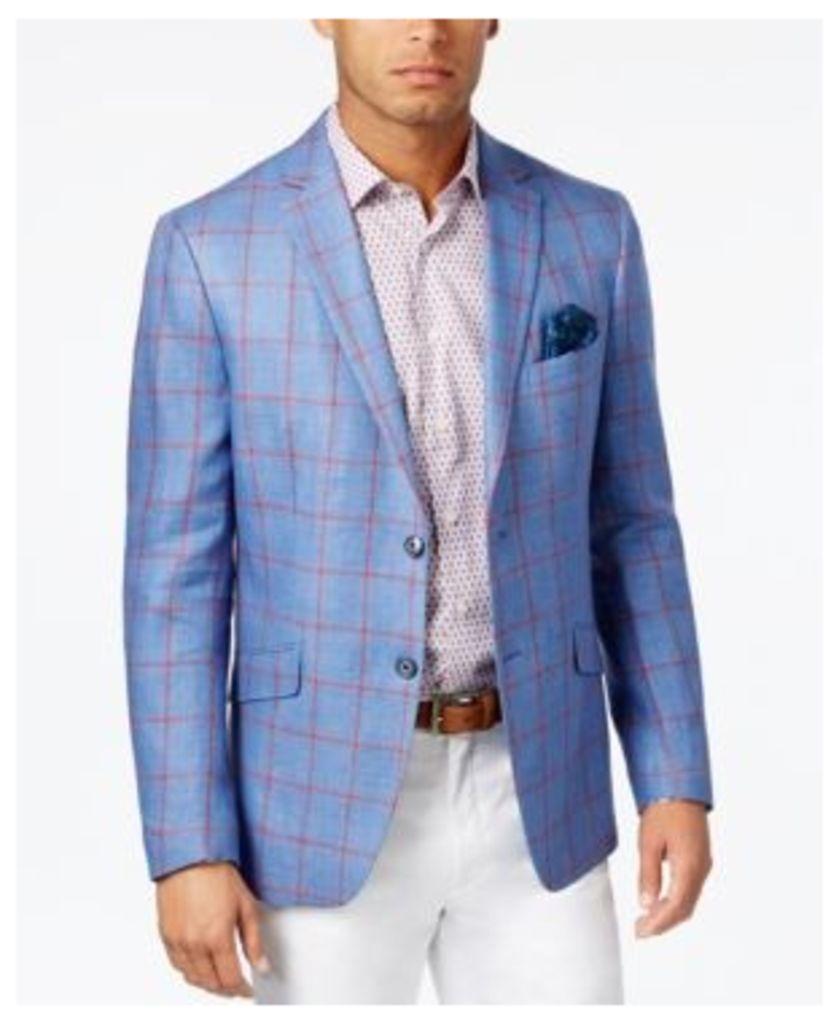 Tallia Men's Slim-Fit Blue and Red Windowpane Sport Coat