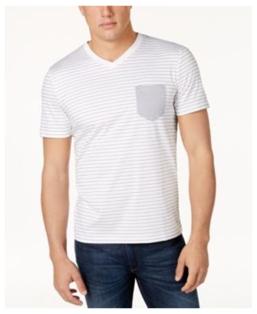 Hugo Men's Classic-Fit Stripe V-Neck Pocket T-Shirt
