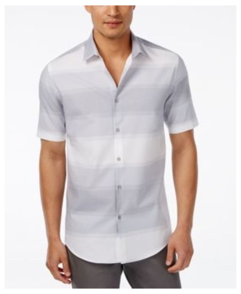Alfani Men's Colby Horizontal-Stripe Short-Sleeve Shirt, Only at Macy's