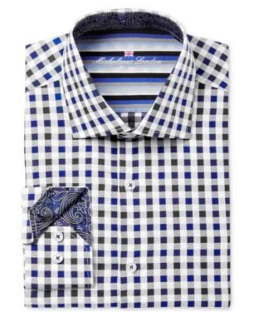 Michelsons of London Men's Slim-Fit Gingham Dress Shirt