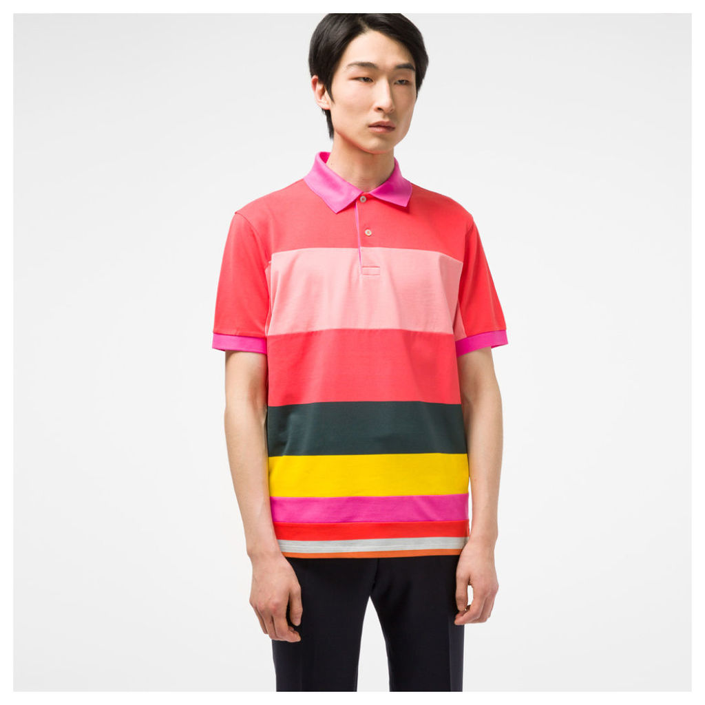 Men's Slim-Fit Pink Pieced Block-Stripe Polo Shirt