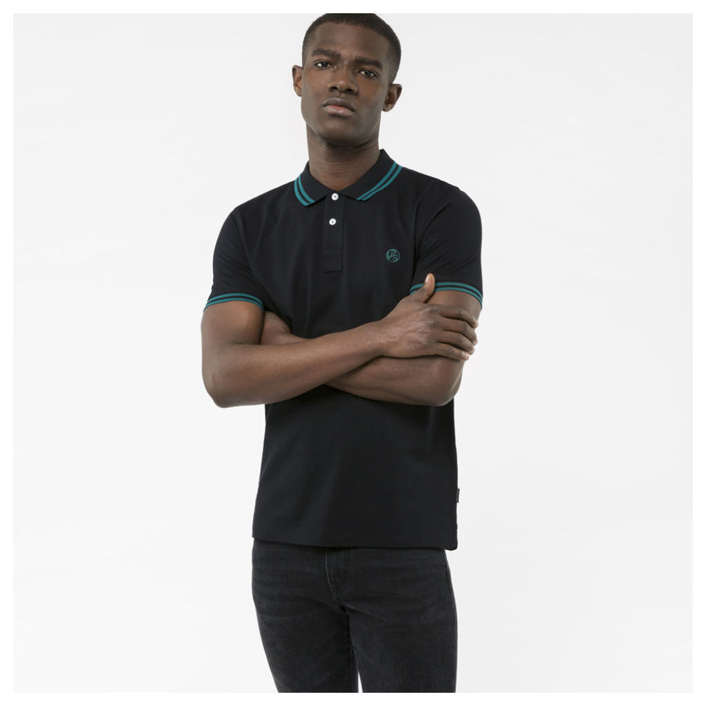 Men's Slim-Fit Black PS Logo Polo Shirt With Teal Tipping
