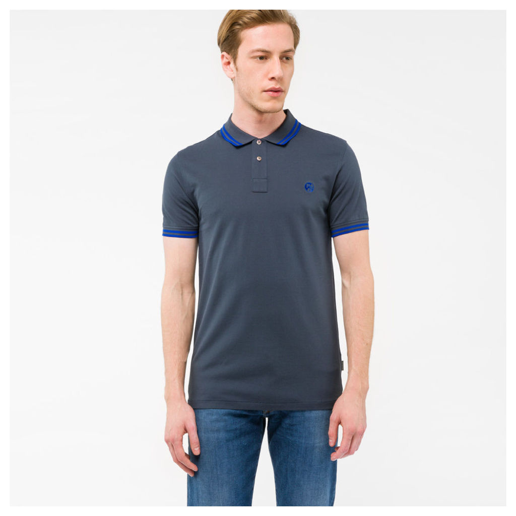 Men's Slim-Fit Slate Grey PS Logo Polo Shirt With Blue Tipping