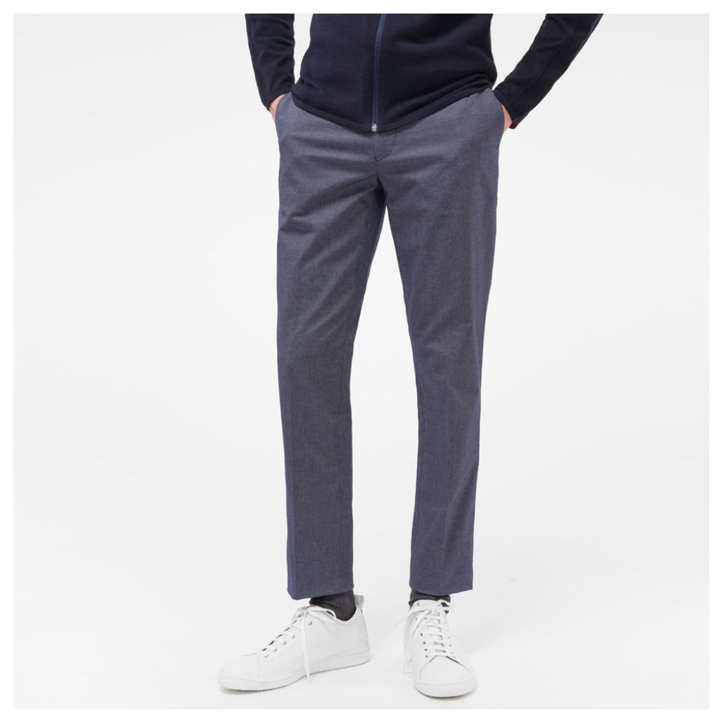Men's Mid-Fit Navy And White Pin-Dot Stretch-Cotton Trousers