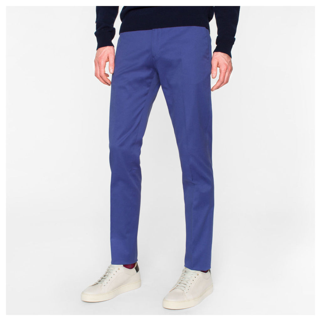 Men's Slim-Fit Blue Stretch-Cotton Twill Trousers