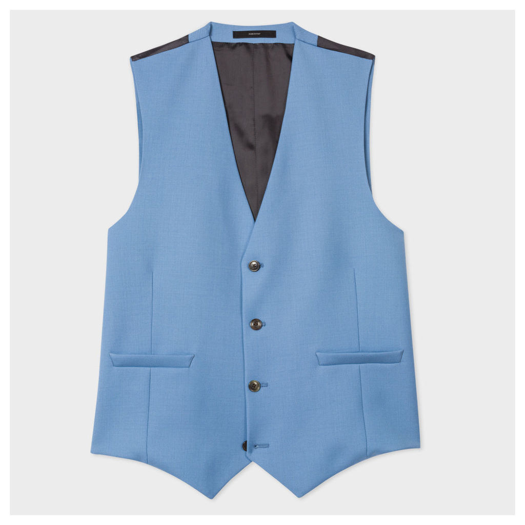 A Suit To Travel In - Men's Tailored-Fit Sky Blue Wool Waistcoat
