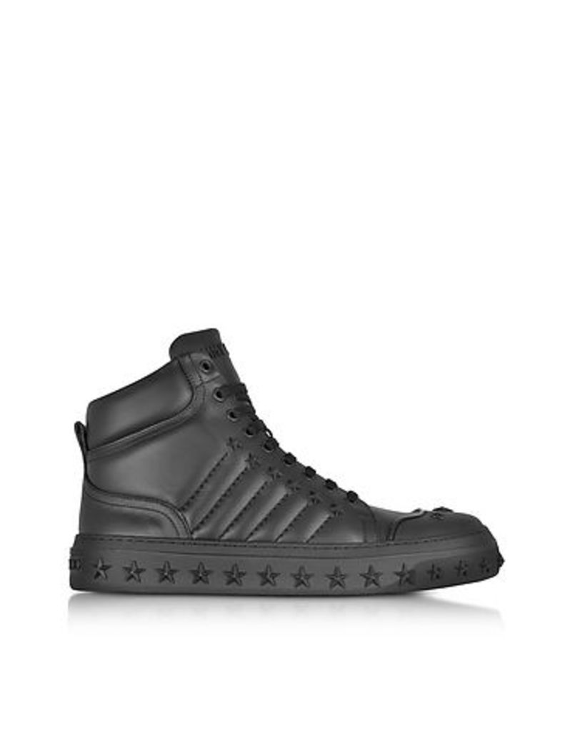 Jimmy Choo - Cassius Black Leather High Top Sneakers w/Stars