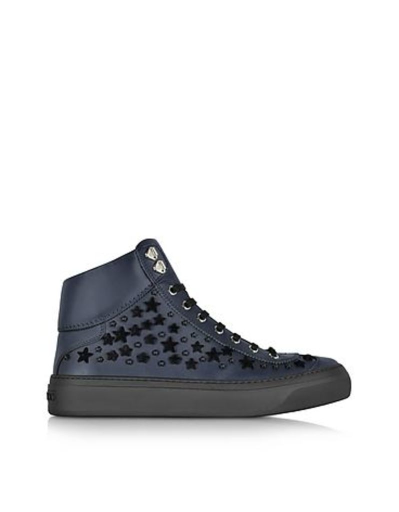 Jimmy Choo - Argyle Official Navy Leather High Top Sneakers w/Black Flocked Stars