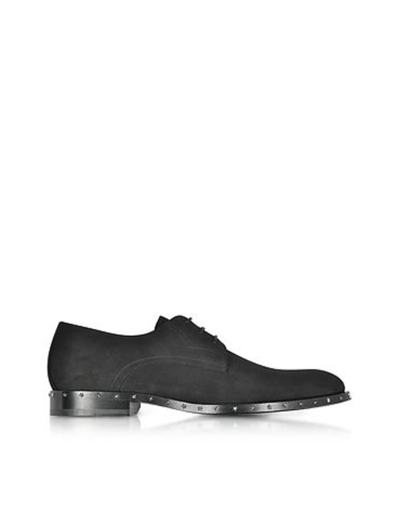 Jimmy Choo - Axel Black Dry Suede Lace Up Derby Shoes w/Stars Studded Sole