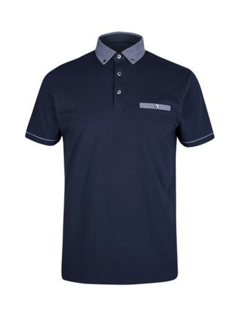 Mens Navy Textured Collar Knitted Polo Shirt, Blue