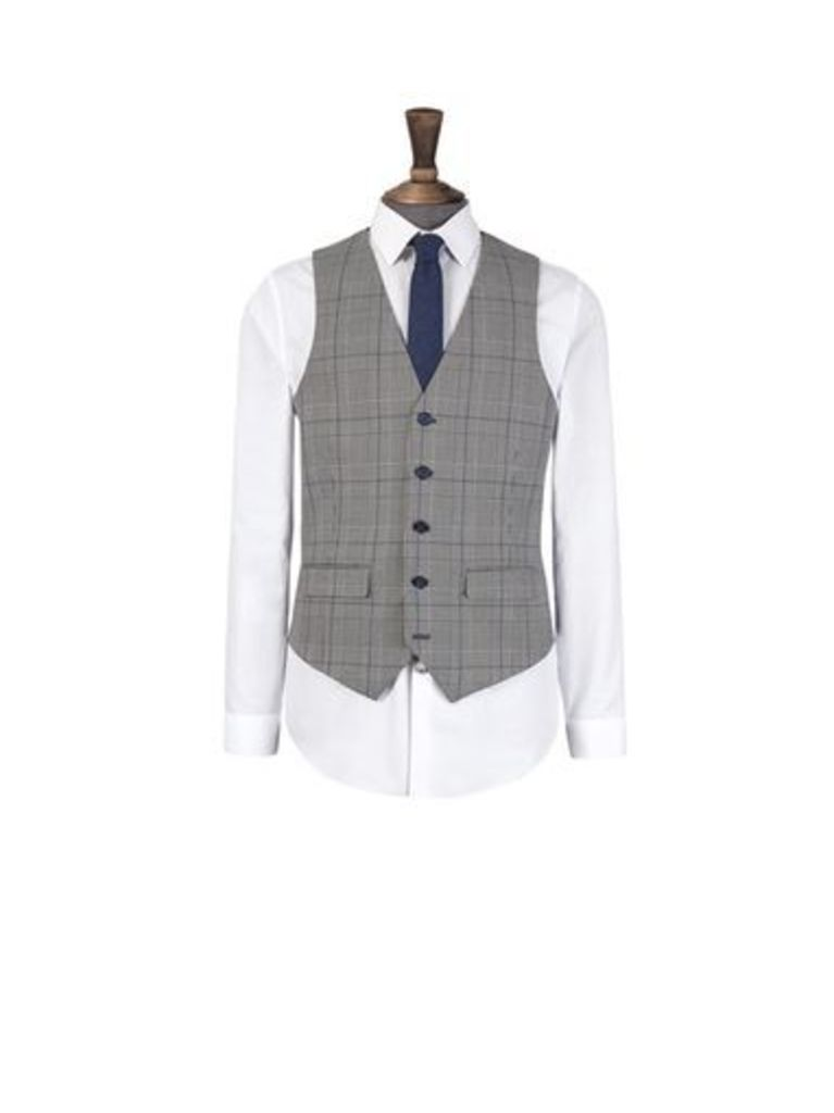 Mens Harry Brown Grey And Blue Check Slim Fit Waistcoat, GREY