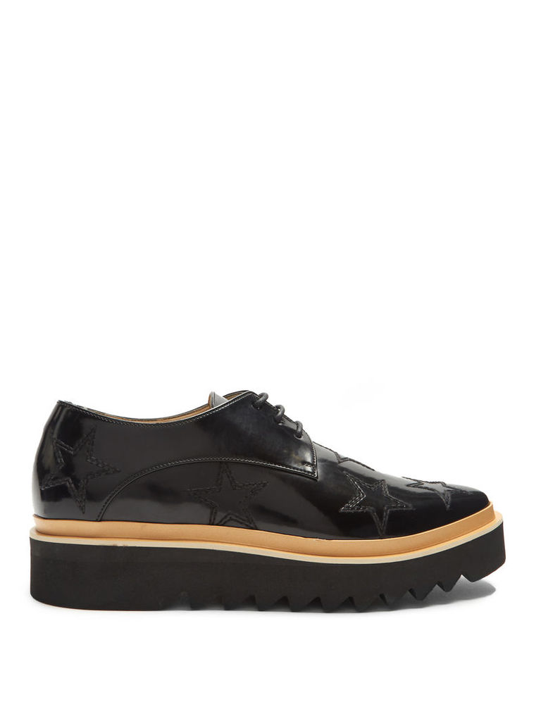 Star-embroidered faux-leather platform derby shoes