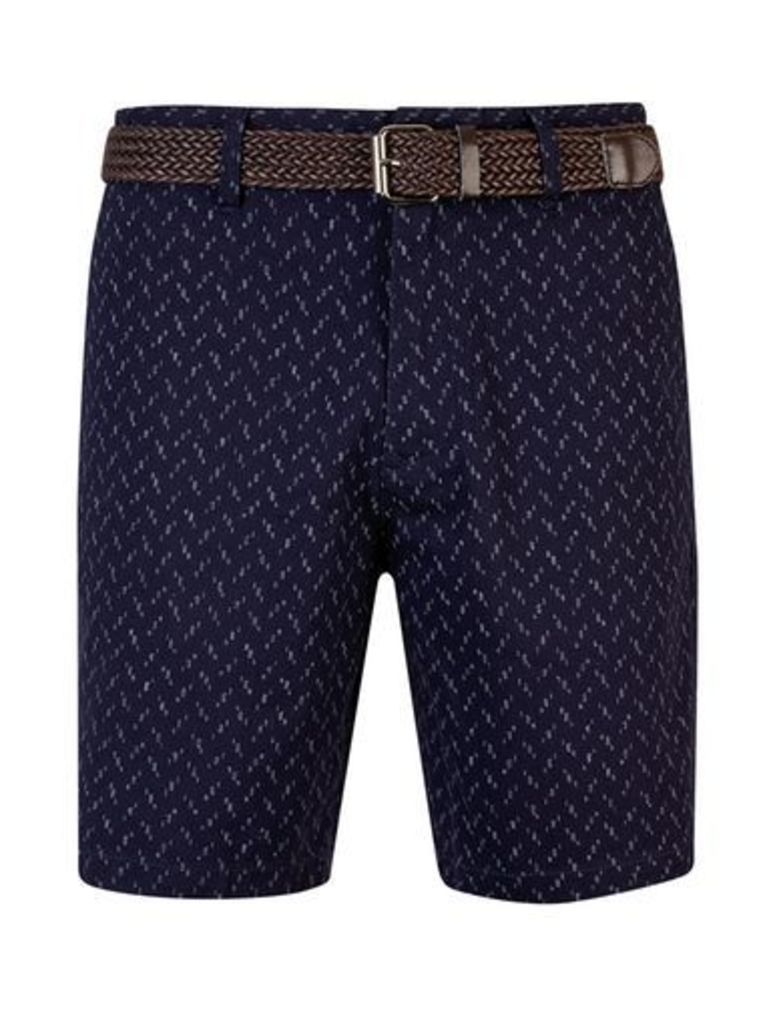 Mens Navy Printed Belted Shorts, Blue