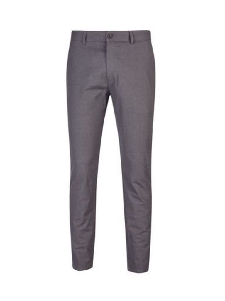 Mens Charcoal Dobby Textured Trousers, CHARCOAL