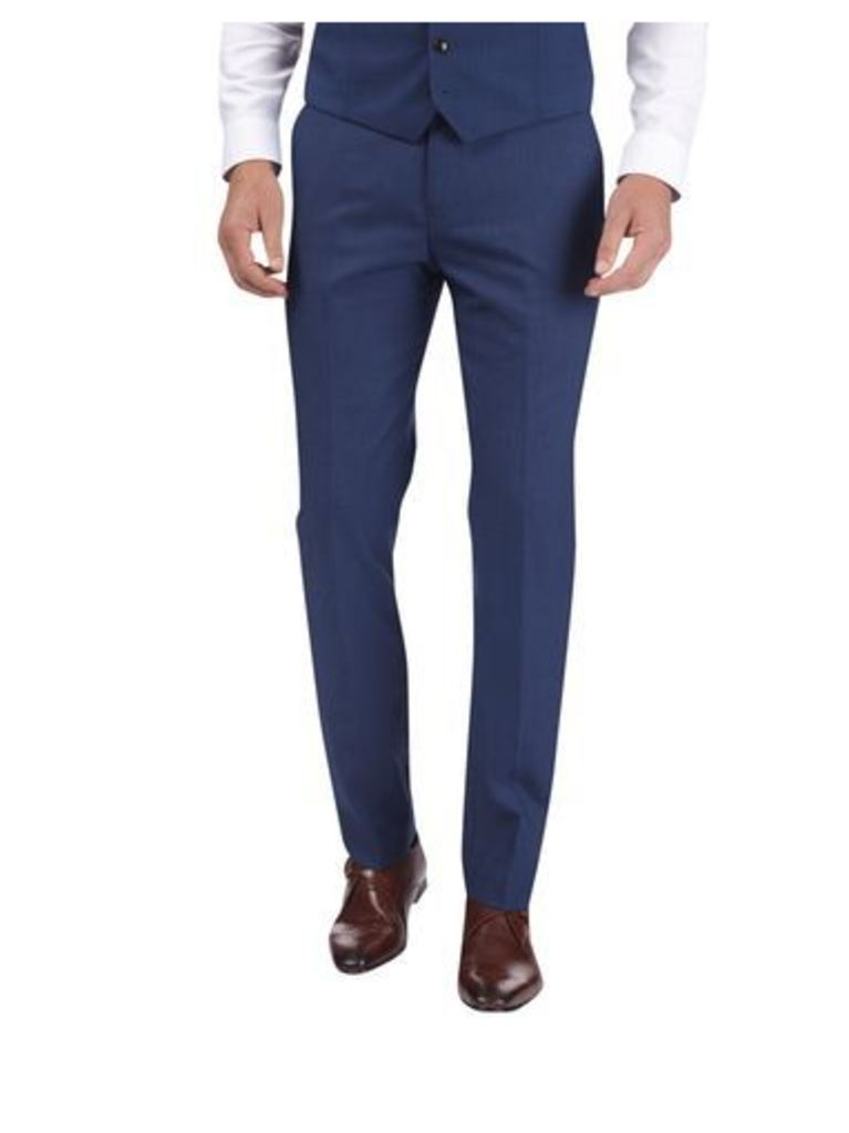 Mens Blue Textured Tailored Fit Suit Trousers, Blue