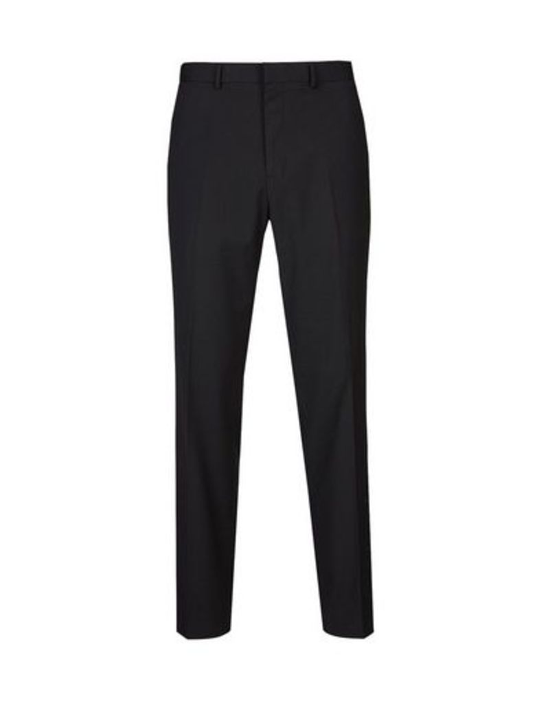 Mens Black Skinny Fit Stretch Trousers, BLACK