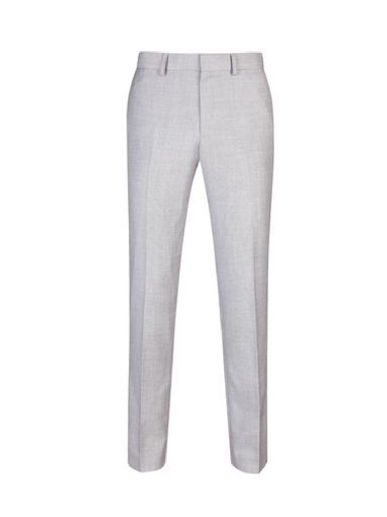 Mens Light Grey Skinny Fit Suit Trousers, Grey