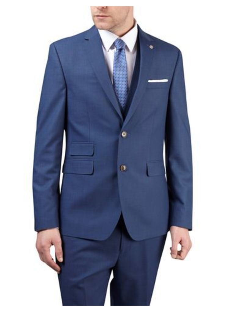 Mens Blue Textured Tailored Fit Suit Jacket, Blue