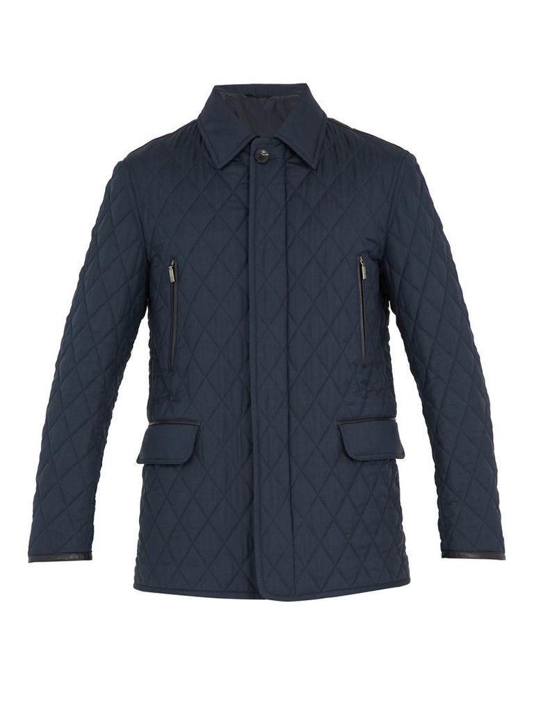 Diamond-quilted wool and silk-blend field jacket