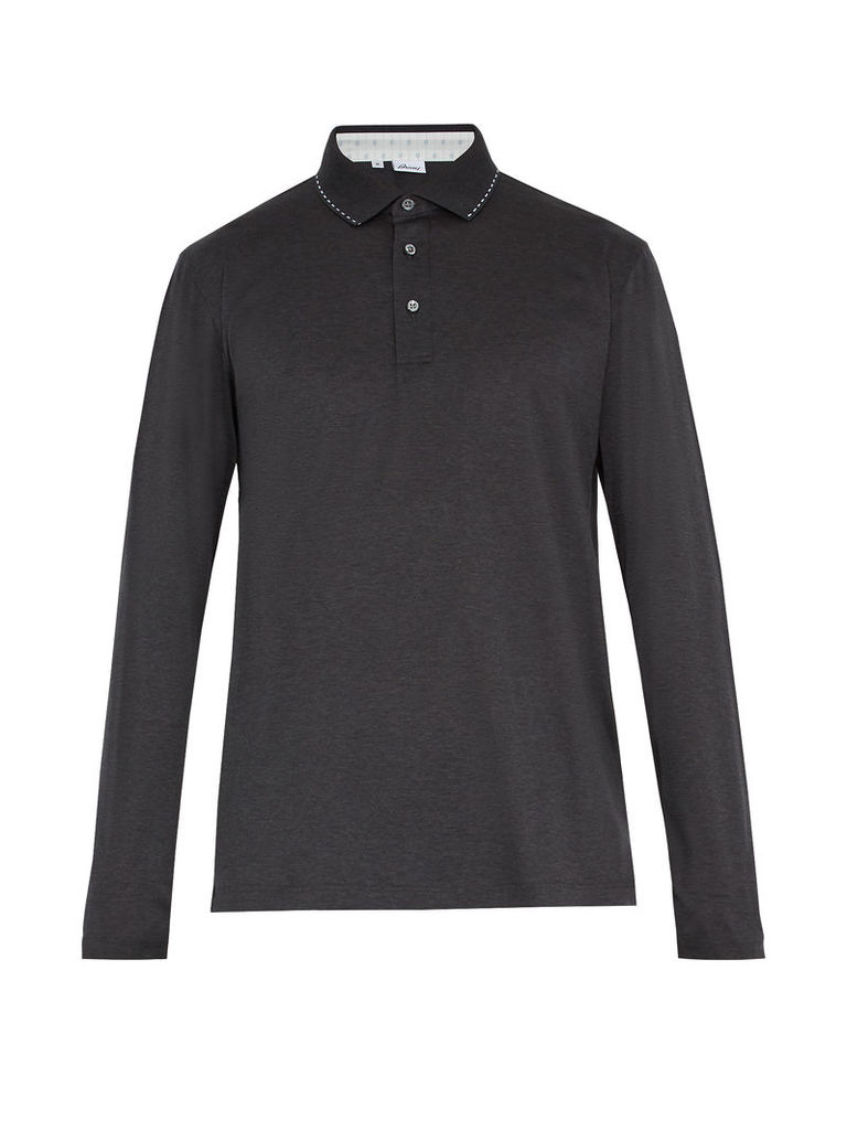 Stitch-embroidered cotton-jersey polo shirt