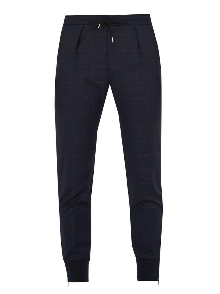 Ribbed-hem windowpane-check wool trousers