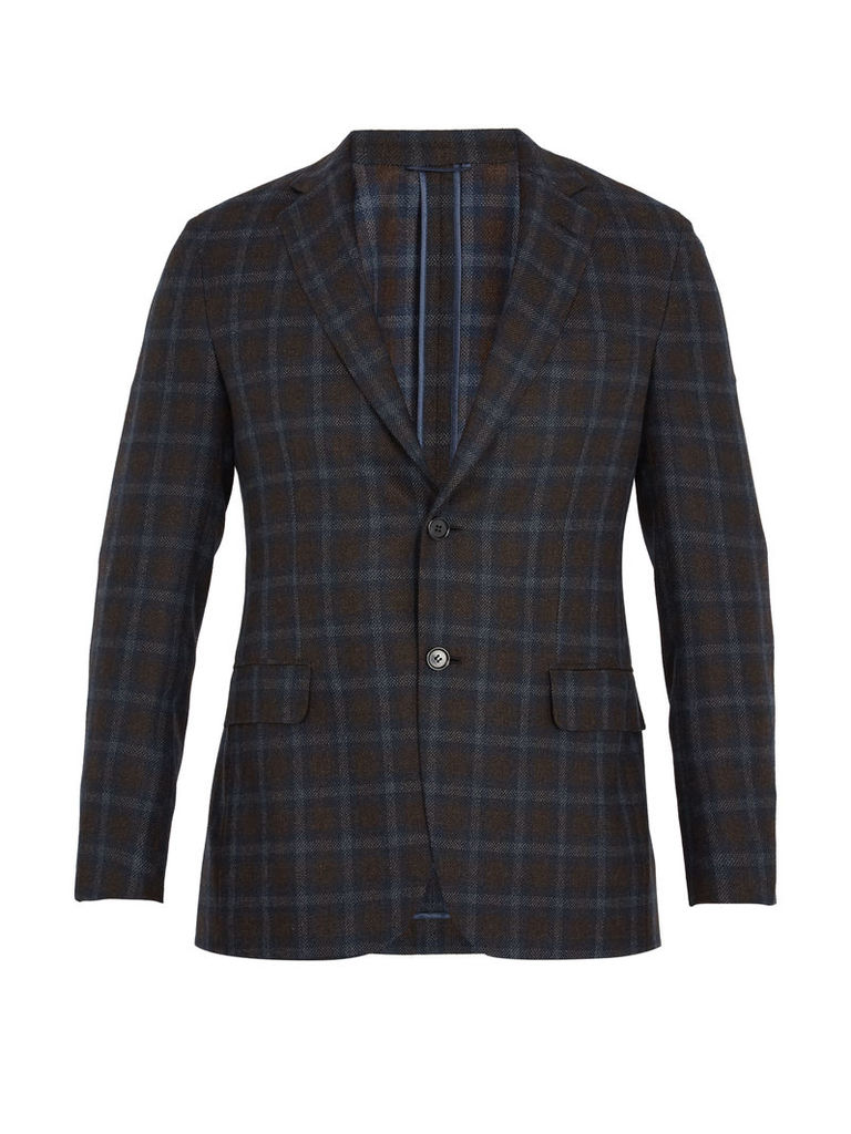 Single-breasted checked flannel-wool blazer