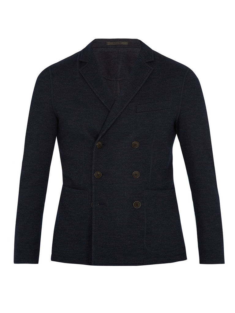 Pinstriped wool-blend double-breasted blazer
