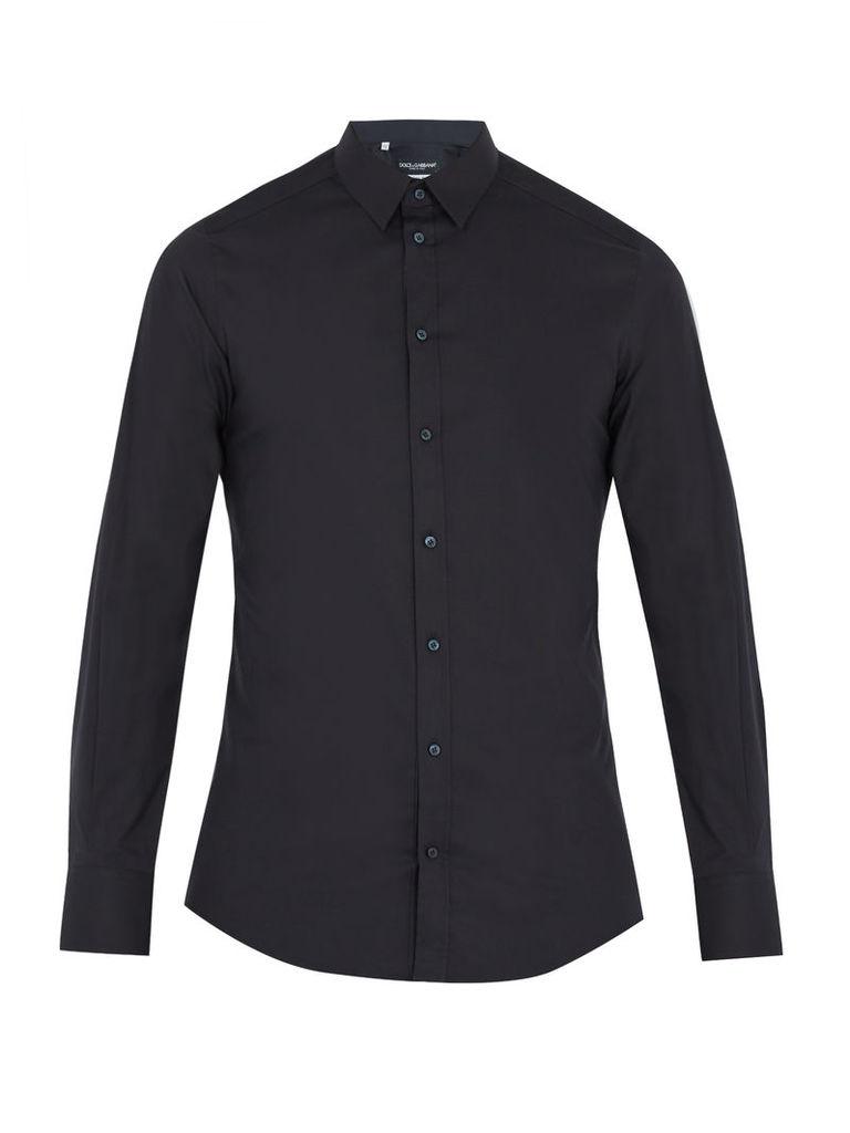 Gold-fit single-cuff stretch cotton-blend shirt