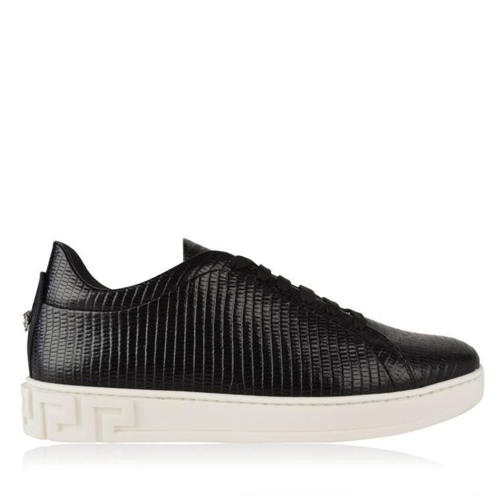 VERSACE Croc Effect Leather Trainers