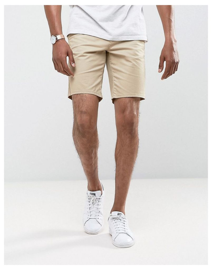 Burton Menswear Slim Chino Short - Stone