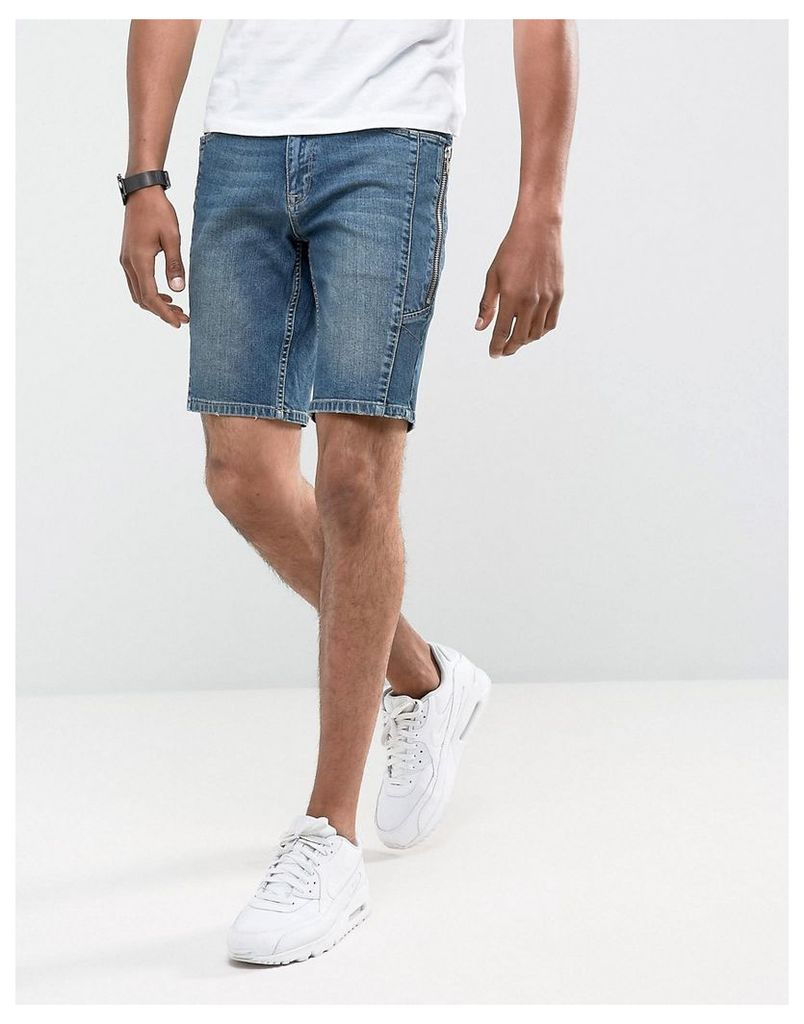 ASOS Denim Shorts In Skinny Dark Wash Blue Biker With Zip Detail - Dark wash blue