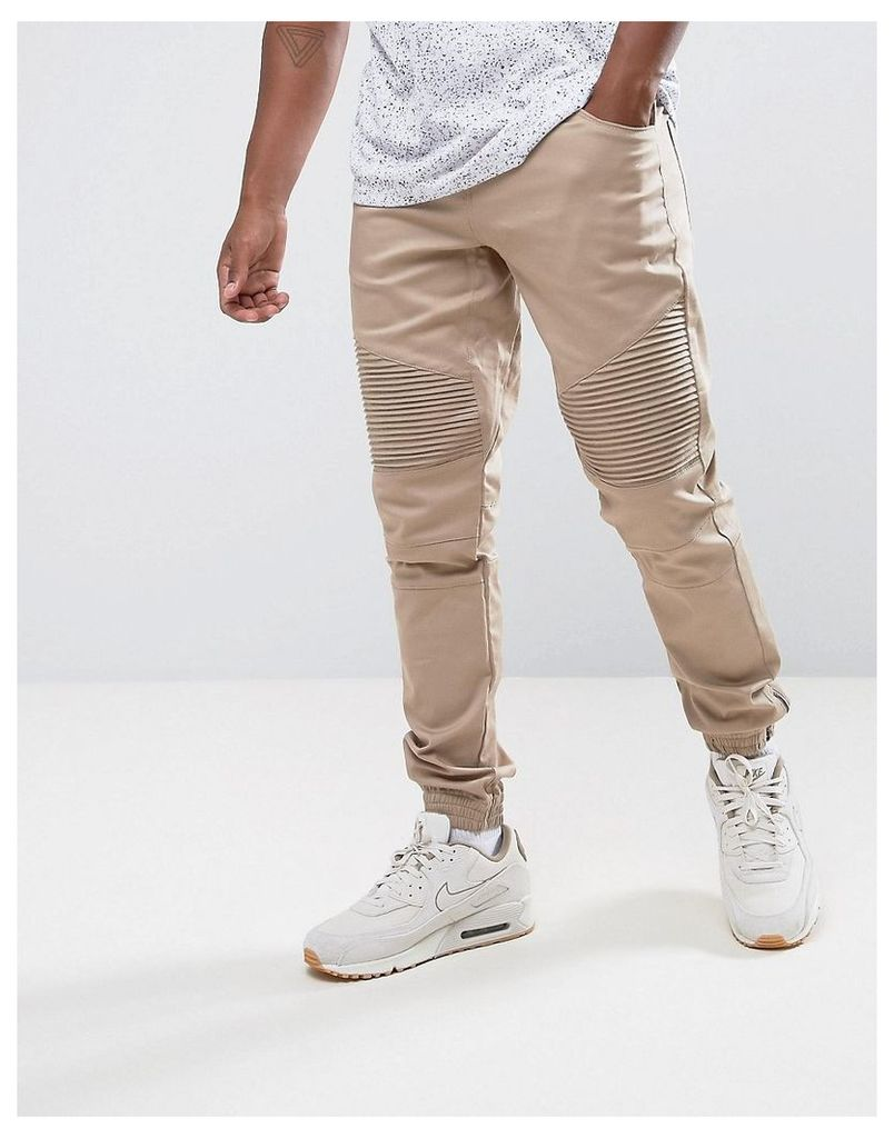 Criminal Damage Skinny Fit Biker Jogger Chino - Stone