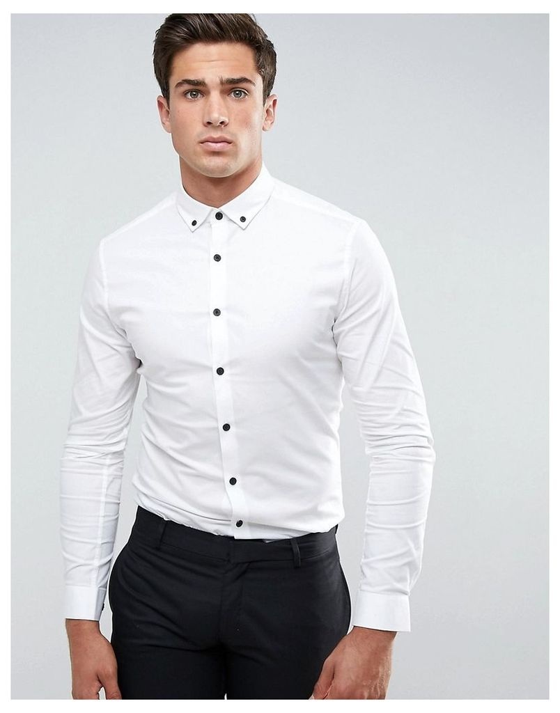 ASOS Skinny Shirt In White With Contrast Buttons And Button Down Collar - White