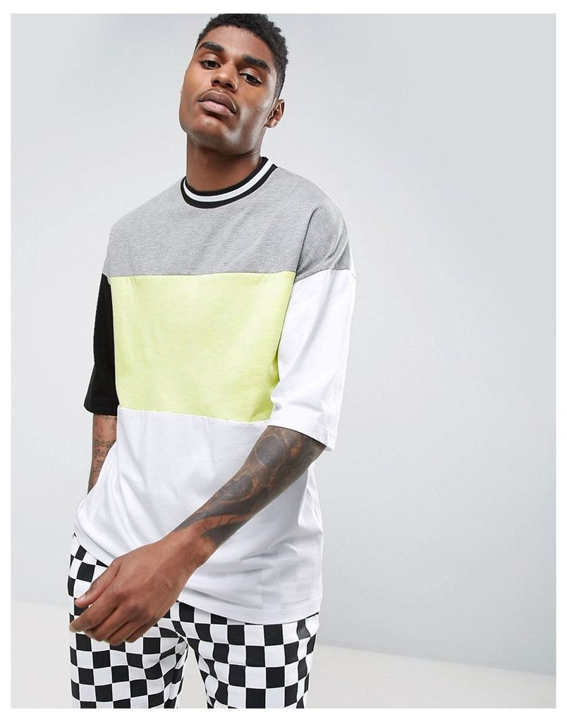 ASOS Oversized T-Shirt With Neon Colour Blocking & Mis-Match Sleeves - White