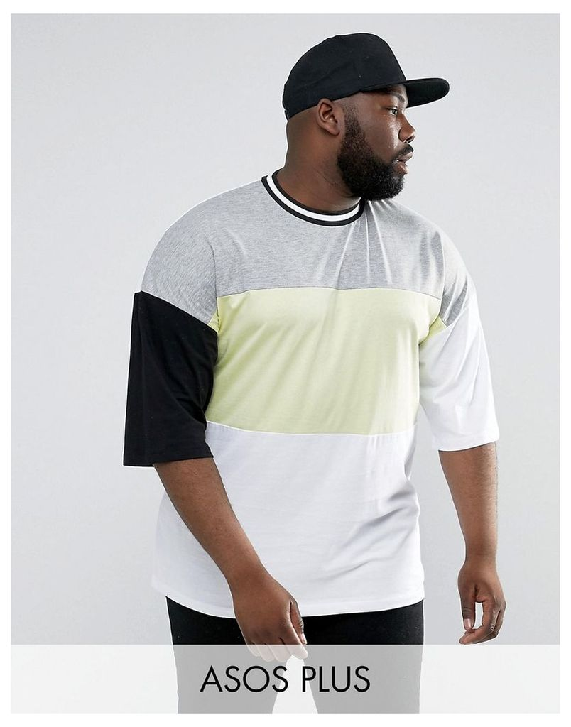 ASOS PLUS Oversized T-Shirt With Neon Colour Blocking & Mis-Match Sleeves - White
