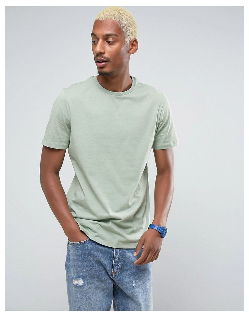 ASOS Longline T-Shirt In Green - Resin