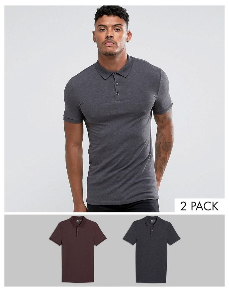 ASOS Extreme Muscle Polo 2 Pack SAVE - Dusted truf/char mar