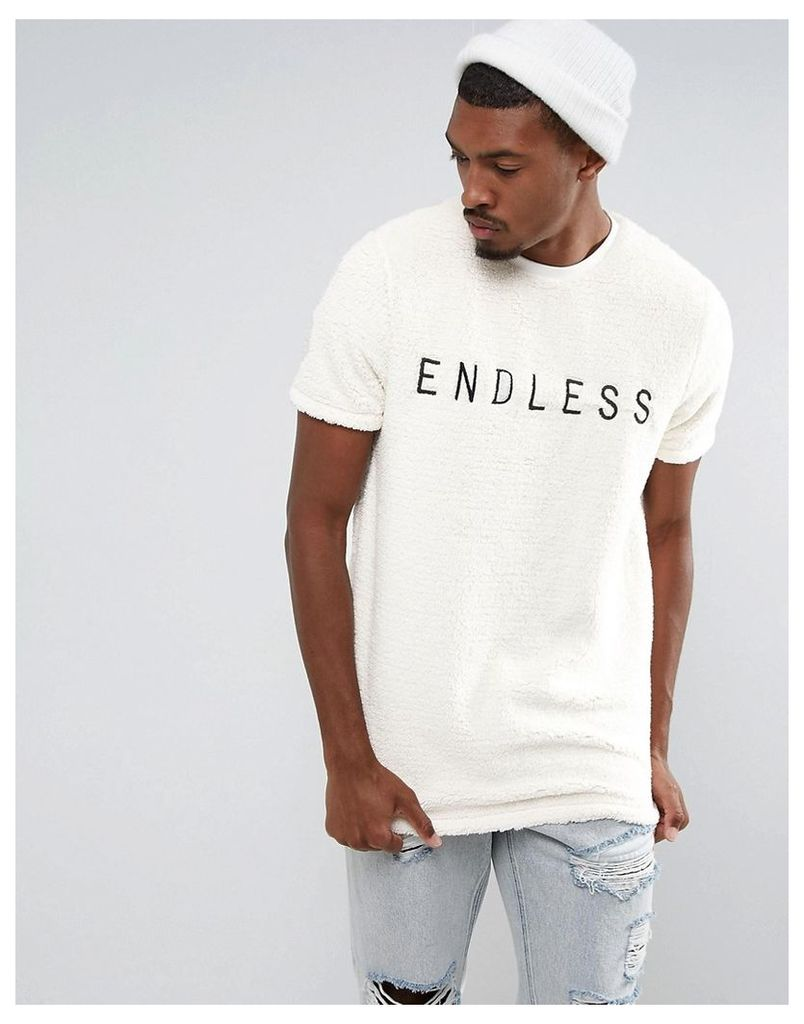 ASOS Longline T-Shirt In Borg With Endless Embroidery - Off white
