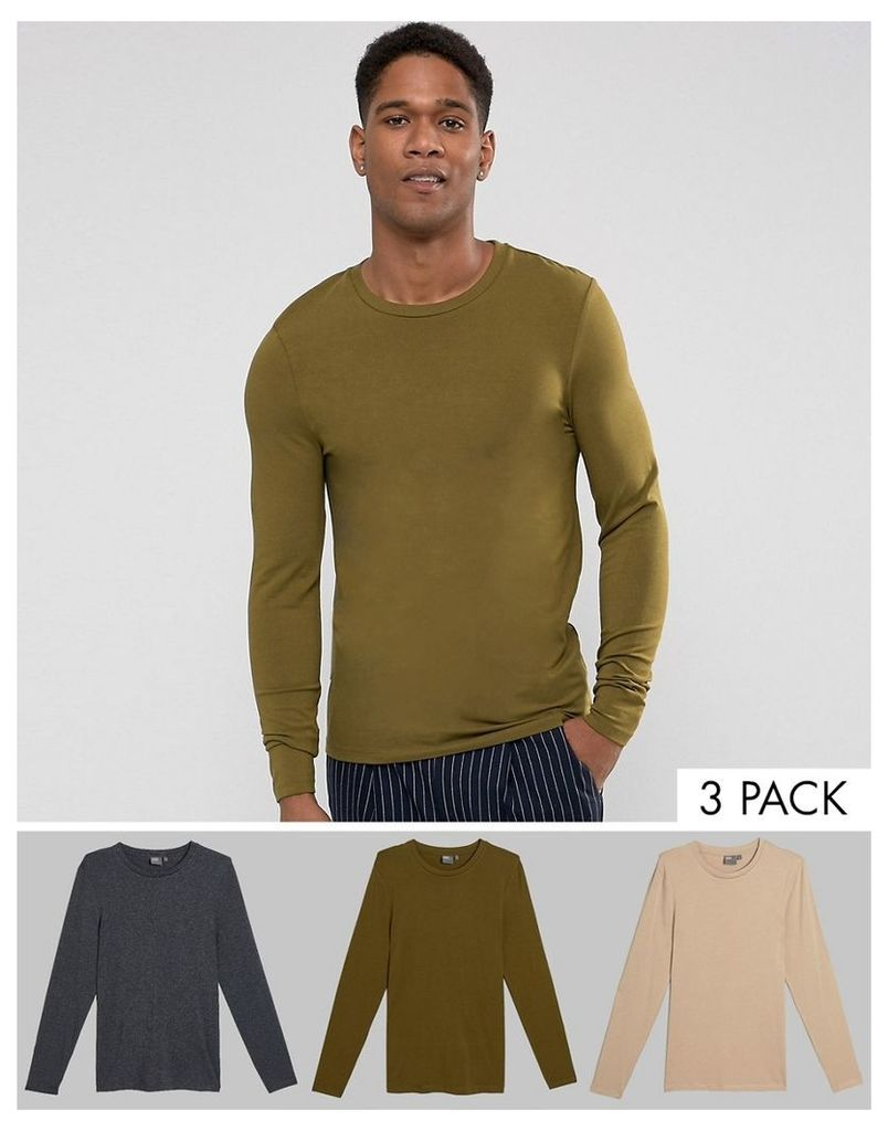 ASOS Long Sleeve Extreme Muscle Fit T-Shirt 3 Pack SAVE - Multi