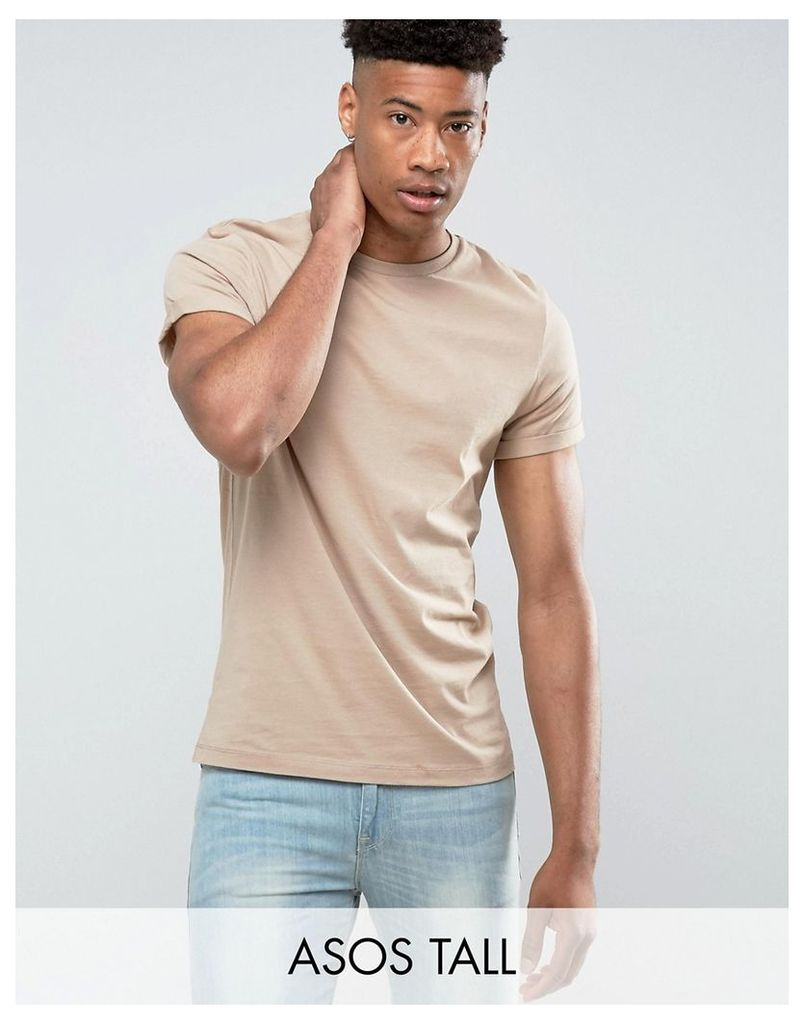 ASOS TALL T-Shirt With Roll Sleeve In Beige - Cardboard